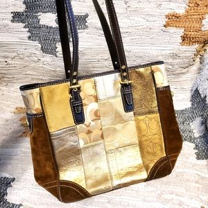 Coach Signature Suede Patchwork Holiday Tote
